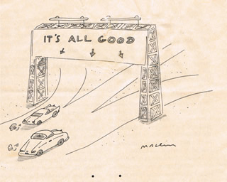 """A cartoon from The New Yorker magazine of a highway with three offramps and a traffic sign that says """"It's all good""""."""